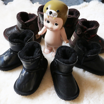 儿童牛皮羊毛秋冬季男童软底雪地靴