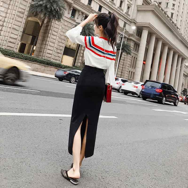 2018秋款时尚女装针织衫开叉半身裙秋季包裙chic早秋裙套装两件套