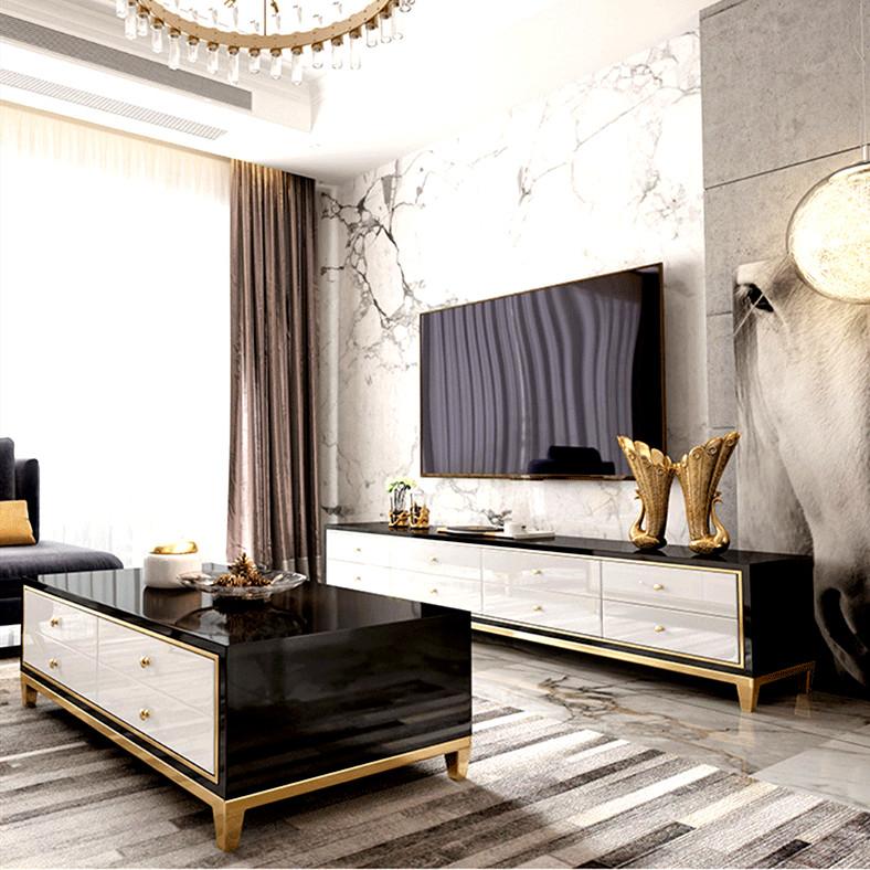后现代简约电视柜小户型家具创意客厅轻奢茶几电视柜组合白色黑色