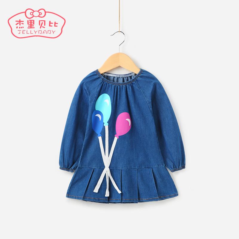 寶寶牛仔裙1~3歲女童裙子春秋小童春裝長袖2017兒童衣服女 連衣裙