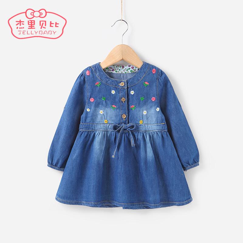 女童秋裝連衣裙0~1一兩歲長袖嬰兒衣服小童裙子2女寶寶牛仔裙春秋