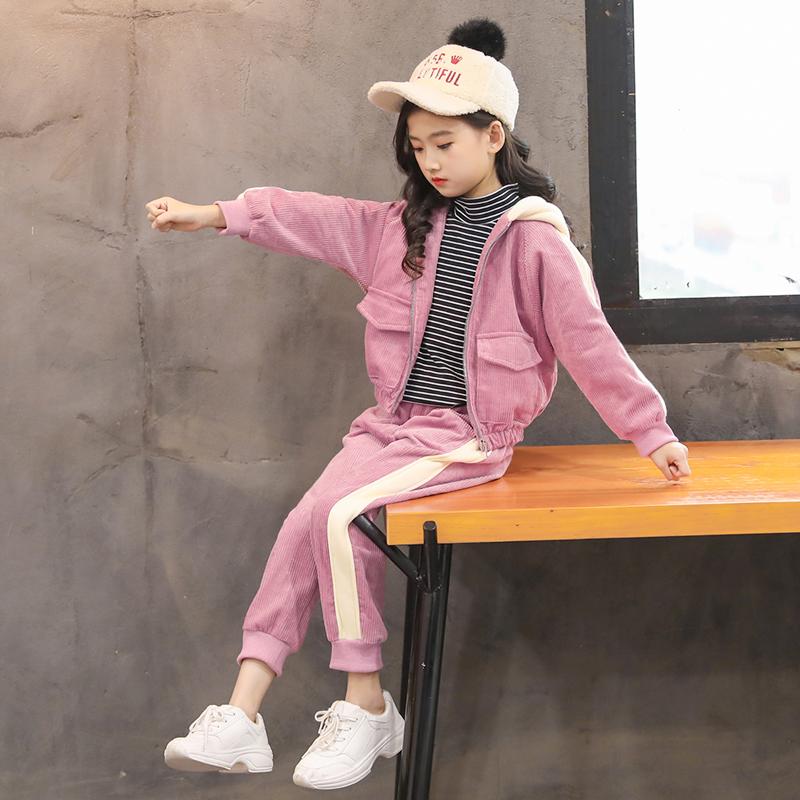 女童秋冬季灯芯绒套装加厚2019新款洋气儿童中大童韩版运动两件套
