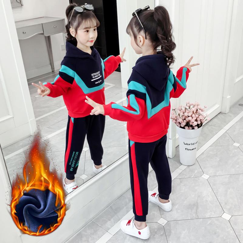 女童秋冬装儿童套装2019新款洋气韩版网红女孩运动加绒加厚大童装