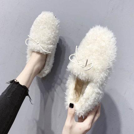 白色毛毛鞋女2018新款冬季加绒棉鞋蝴蝶结外穿豆豆鞋羊羔毛一脚蹬