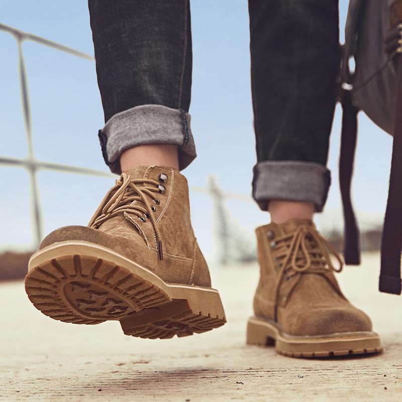 男韩版潮高帮英伦风工装靴马丁靴