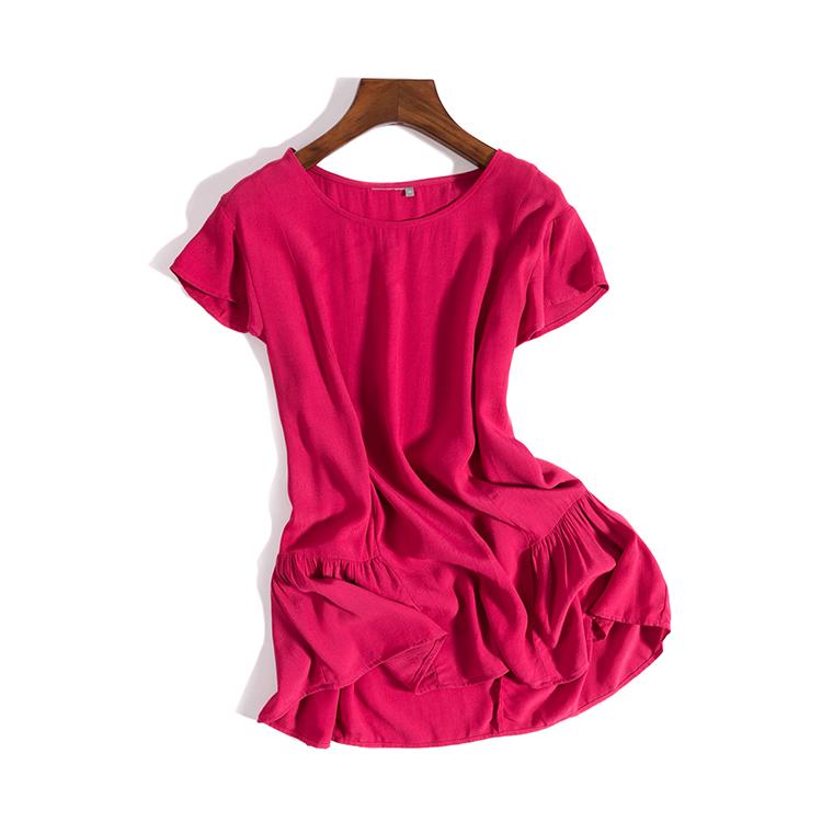 出口欧美外贸尾单18夏季女装 人棉宽松舒适透气T恤上衣S00567
