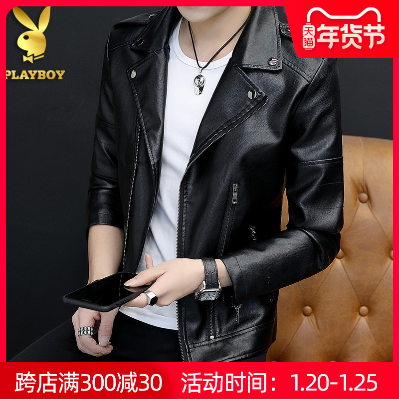 Playboy flagship store leather men's spring, autumn and winter plus velvet simulation leather motorcycle soft leather jacket official website jacket tide