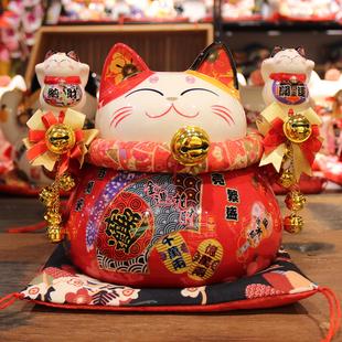 店铺收银台摆件 饰品存钱罐 猫寺招财猫 玄关装 开业贺礼品创意日式