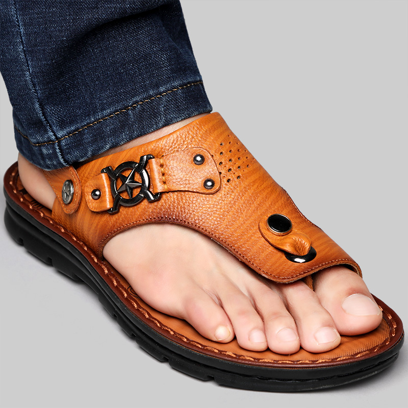 Mens sandals summer soft bottom business leather top layer cow leather clip foot herringbone slippers mens man son drag Korean Trend