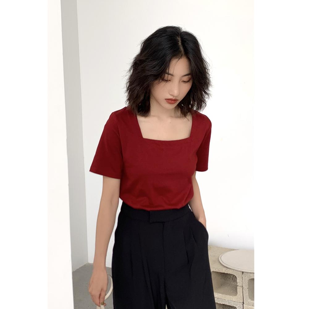 复古欧美短款修身t恤女夏季新款设计感小众显瘦短袖法式方领上衣
