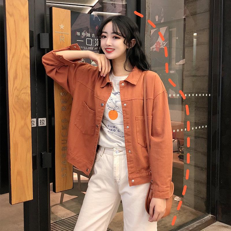 2019秋季新款日系長袖工裝牛仔外套女修身百搭短款上衣薄款外套潮