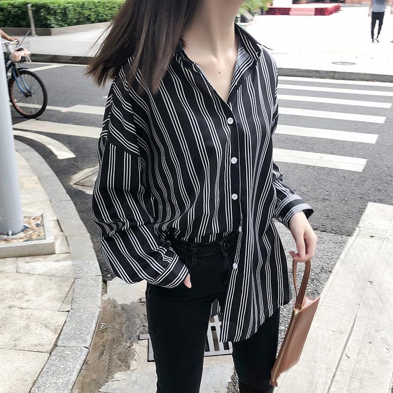 2018新款秋装长袖韩版百搭竖条纹衬衫女学生宽松上衣POLO领港风潮