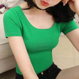 白色t恤女短袖夏季大領口性感露背修身低領打底衫緊身純色U領體桖