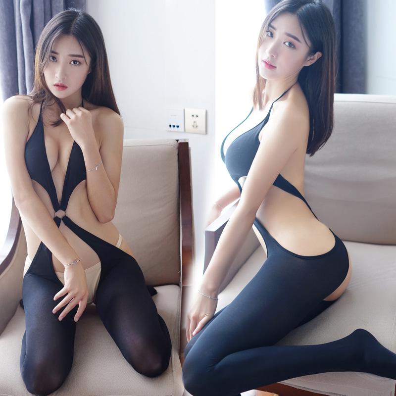 性感开裆露背情趣丝袜黑色极度诱惑情趣内衣连体袜骚连身网衣女