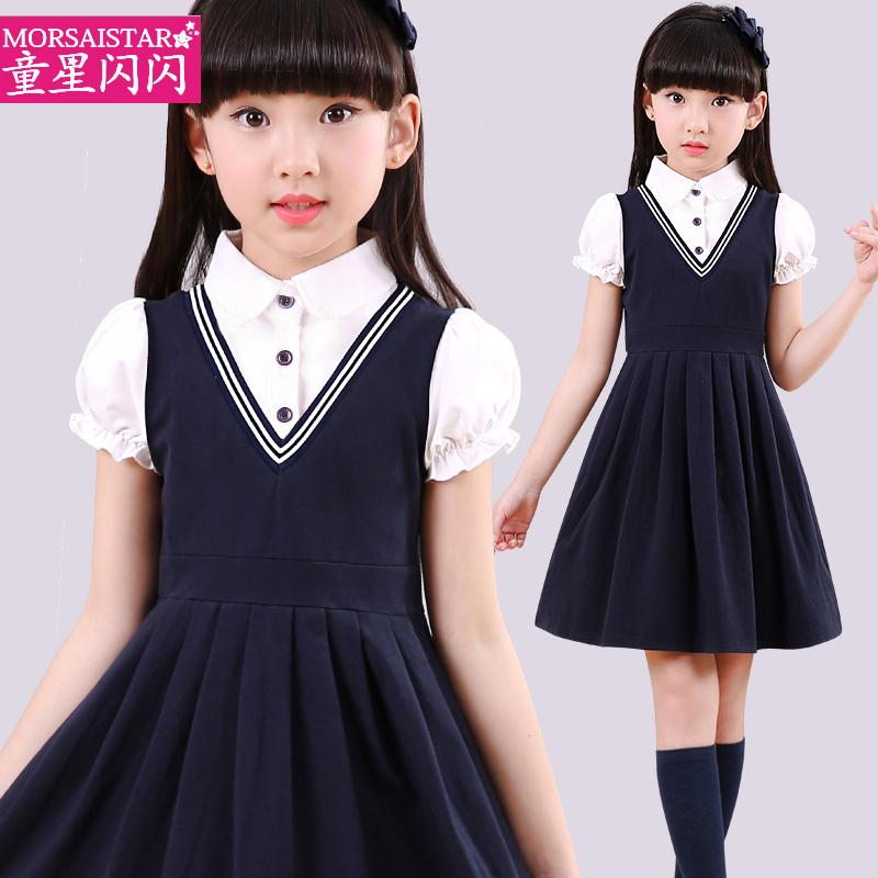 女童连衣裙夏款儿童针织裙小女孩公主裙子洋气裙女童装夏装学院裙
