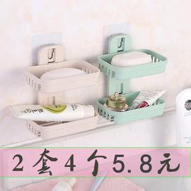 免打孔肥皂盒卫生间沥水创意壁挂香皂架浴室置物架吸盘双层肥皂架图片