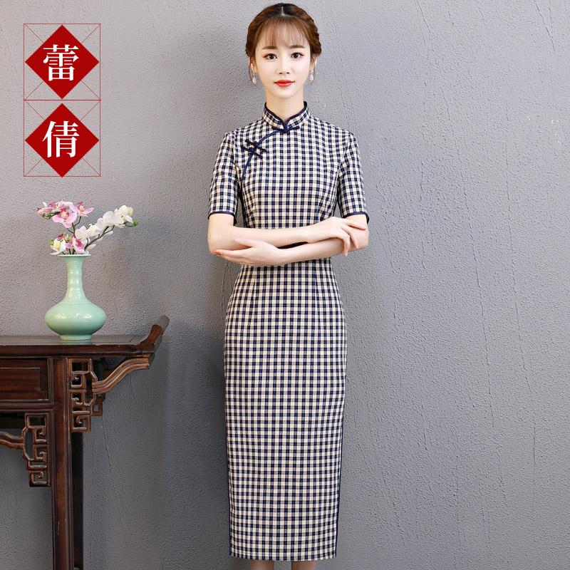 2018夏季新款少女中国风改良版年轻端庄大气格子中长款旗袍连衣裙