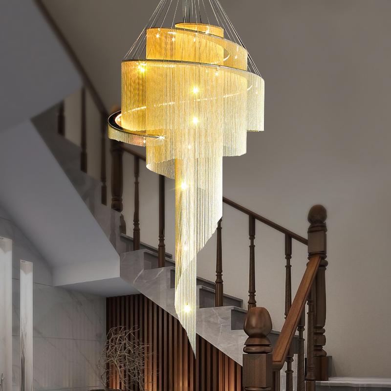 Nordic duplex building stair lamp long chandelier light luxury post modern hollow tassel lamp villa personality living room large chandelier