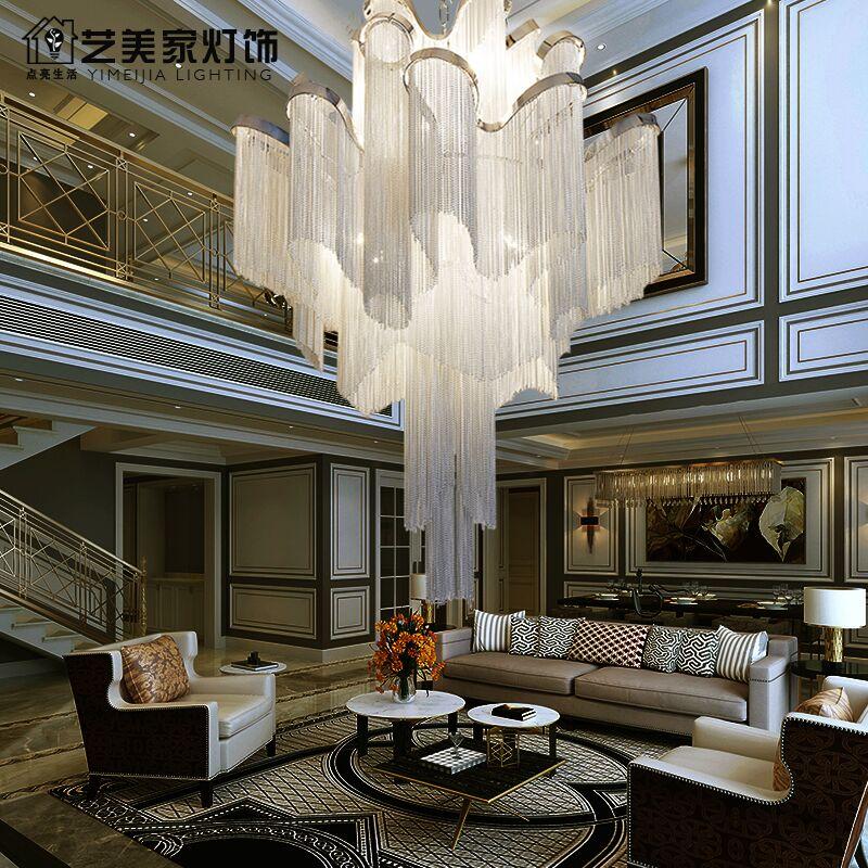 Post modern compound building large chandelier living room light luxury villa hollow high loft apartment chandelier art stair lamp