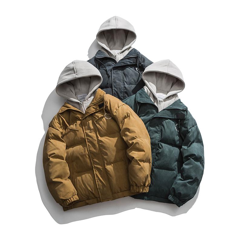 2021冬季新款男装日系潮流宽松假两件连帽棉衣棉服外套MY252-F205