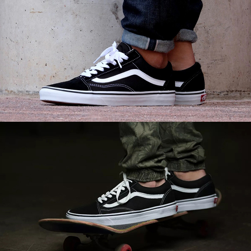 �典款�f斯易帆布鞋男士�n版潮流黑白低�托��W生女ins超火的鞋子