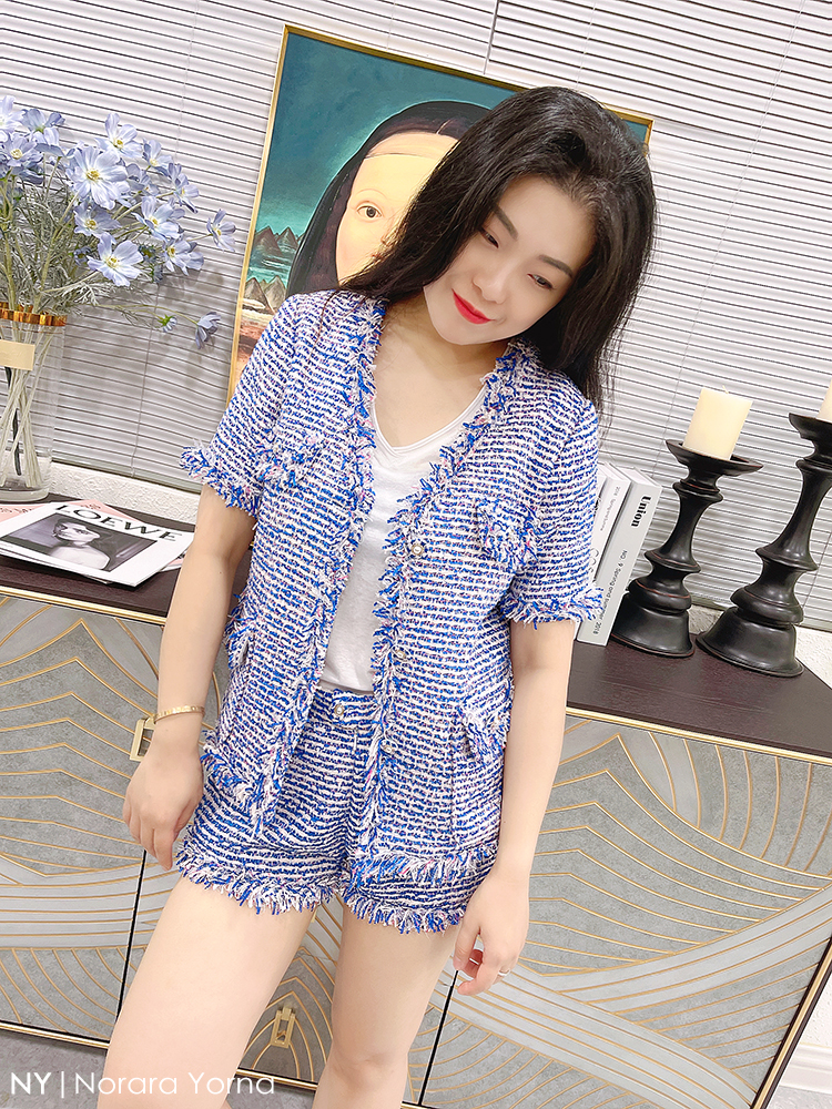 NY private customized blue tweed shorts summer casual loose low waist hot pants womens slim shorts