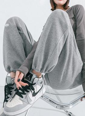灰色运动裤女春秋宽松束脚高腰抽绳直筒休闲卫裤显瘦小个子阔腿裤