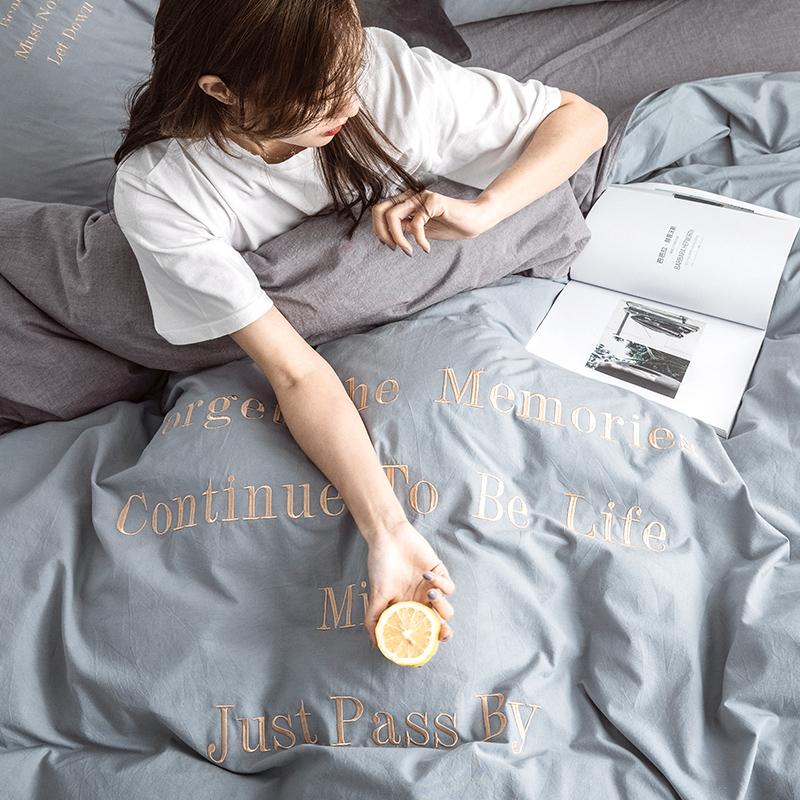 满198元可用10元优惠券北欧ins网红全棉水洗棉四件套家用夏季床上用品套件床单床笠被套