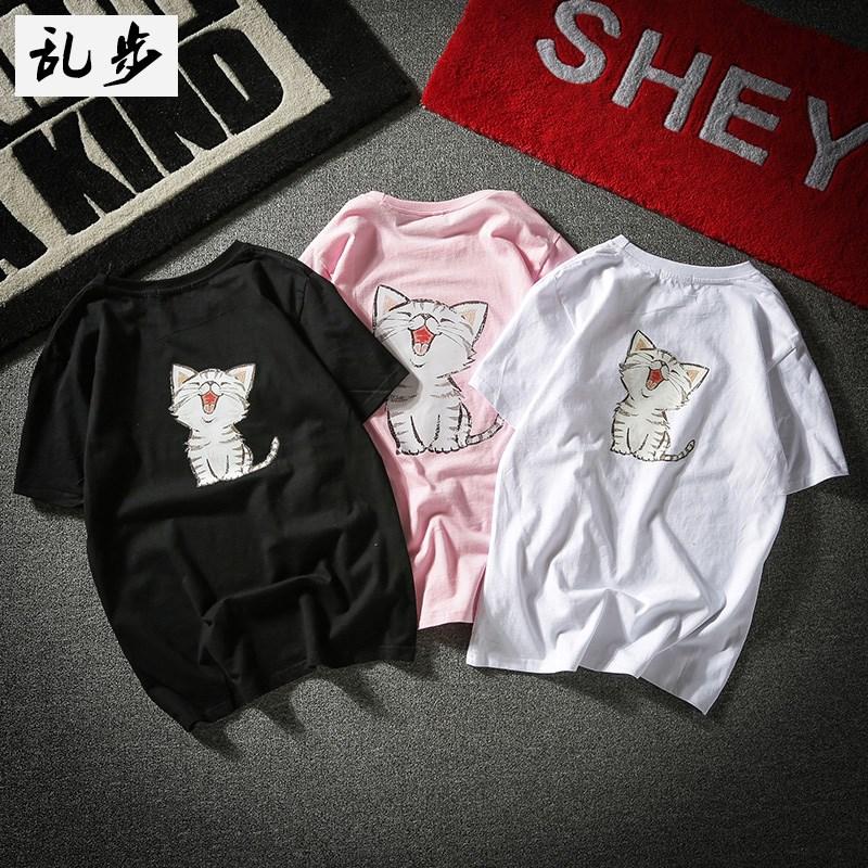 日系短袖T恤男小清新韩版情侣装女卡通猫咪印花半袖T-shirt宽松潮