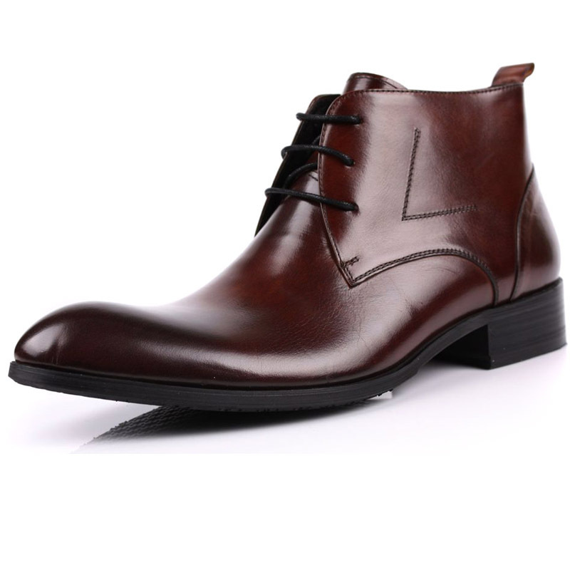 Top layer leather mens medium and high top leather shoes British pointed business dress short boots leather mens boots handmade shoes