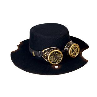 熠先生的蒸汽大陸steampunk蒸汽朋克燙洞羊毛做舊黑色牛仔平頂帽
