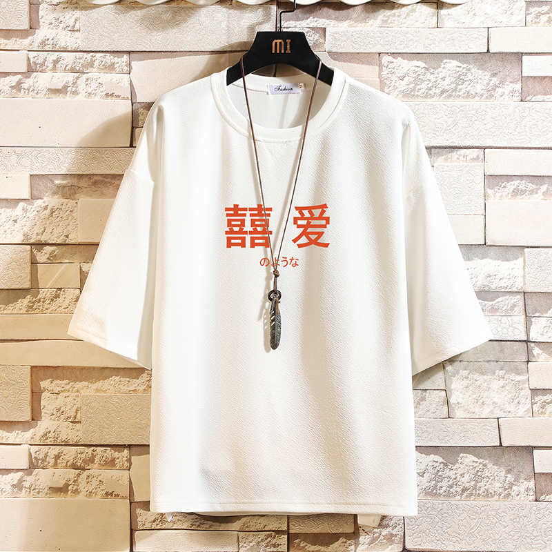 Q11020-P30 春夏季七分袖t恤男大码五分袖男短袖中袖