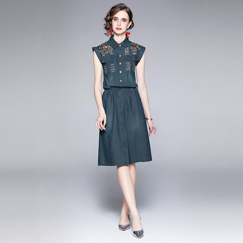 实拍现货3287#欧洲站修身牛仔连衣裙刺绣大码女装休闲牛仔长裙