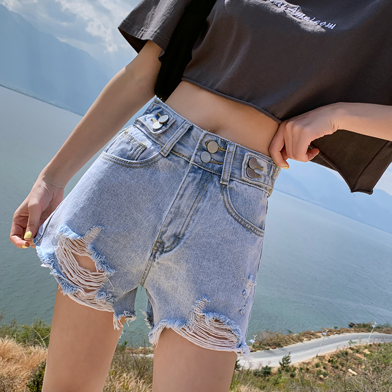 2020 holed jeans womens summer new Korean loose double button high waisted shorts super hot flash 3 / 4 Pants