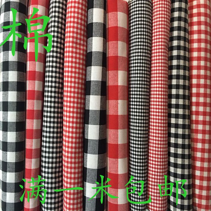 纯棉格子布料服装面料黑白红白小方格衬衣桌布窗帘布手工diy面料