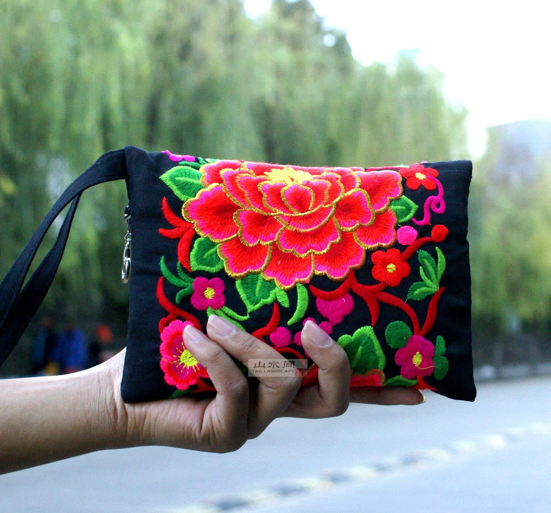 Этнические вышитые ткани двойной двухсторонний мешок мешки сумочка Кошелек много цветов в
