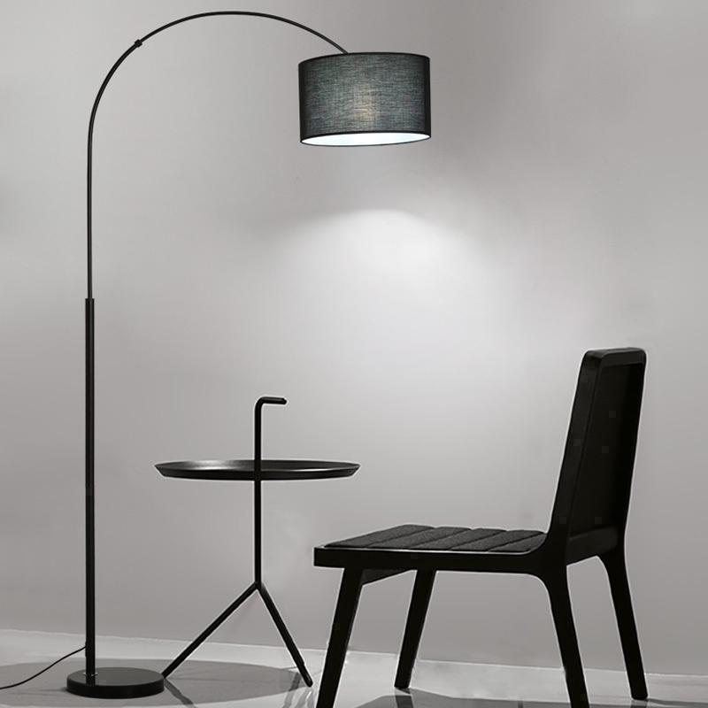 布艺床头长臂钓鱼书房地灯led北欧落地灯卧室客厅创意现代简约kc