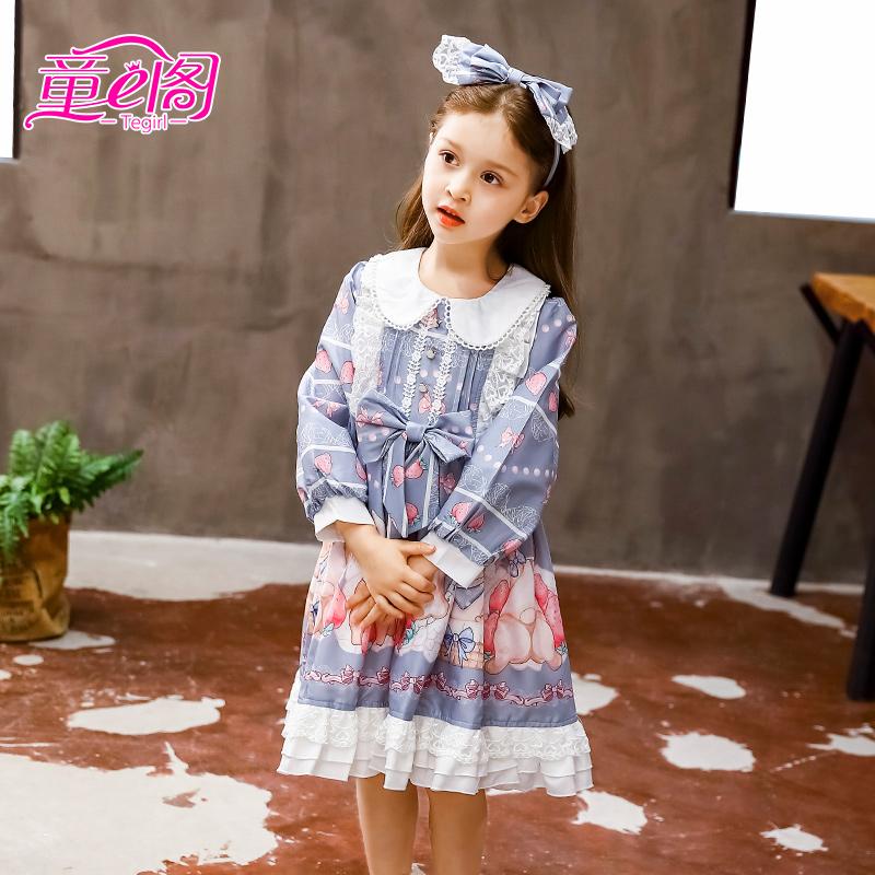 女童洛丽塔公主裙卡通印花裙秋季Lolita裙子儿童长袖小萝莉连衣裙