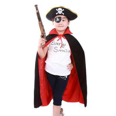 万圣节儿童服装化妆舞会cos成人黑红披风+海盗帽+眼罩+枪海盗服
