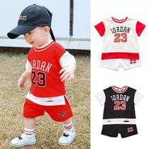 男童夏装2019新款短袖套装1-3岁男孩夏季两件潮童装2宝宝运动套装