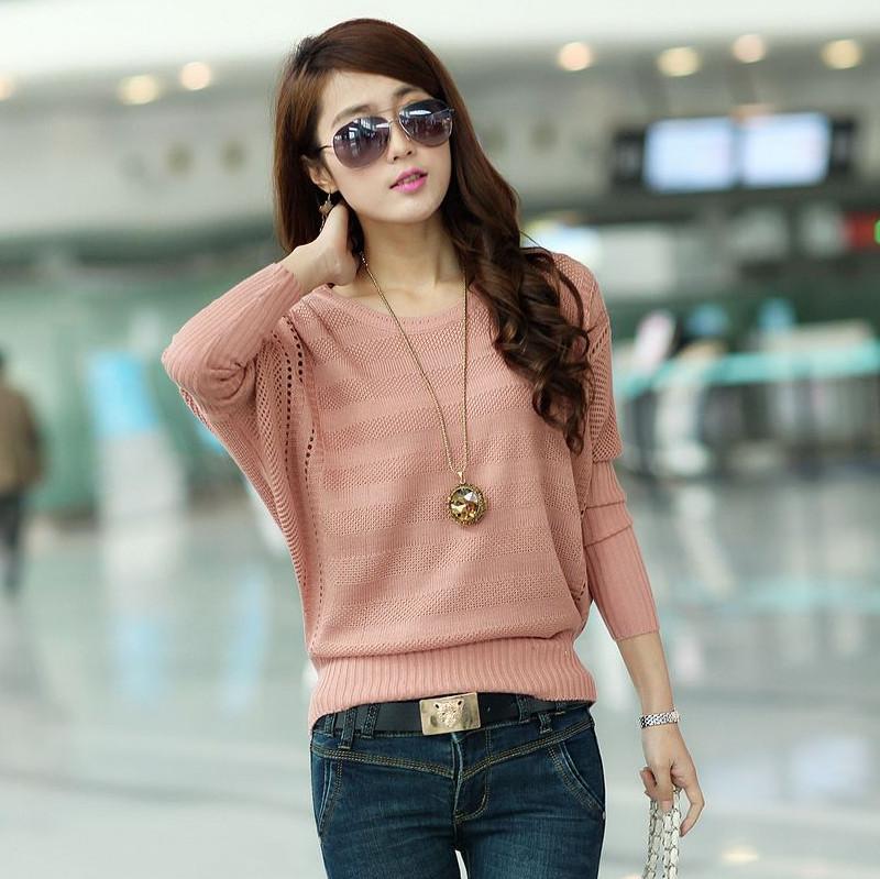 Весна, которые загружены куртка дамы размер batwing пальто сыпучих корейской версии раздалбывают вязаный свитер с длинным рукавом головки рубашку блузку прилив от Kupinatao