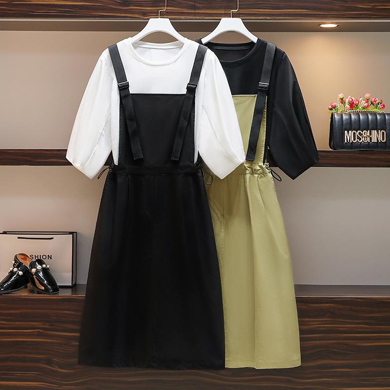 大码女装胖mm夏季新款韩版宽松中长款套装裙T恤背带裙显瘦两件套