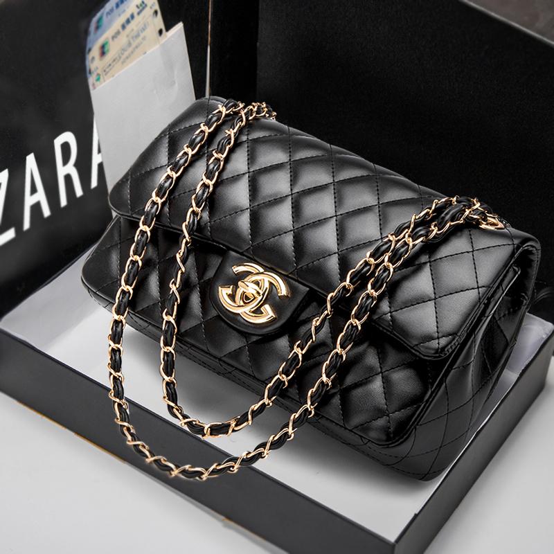 Hong Kong Purchasing xiaoxiangfeng bag 2021 new fashion luxury leather womens bag Single Shoulder Messenger rhombic chain bag