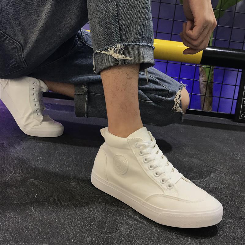 ハイネックキャンバス靴男性白靴2020新型韓国版ファッション靴通気カジュアル白い靴百足男性靴