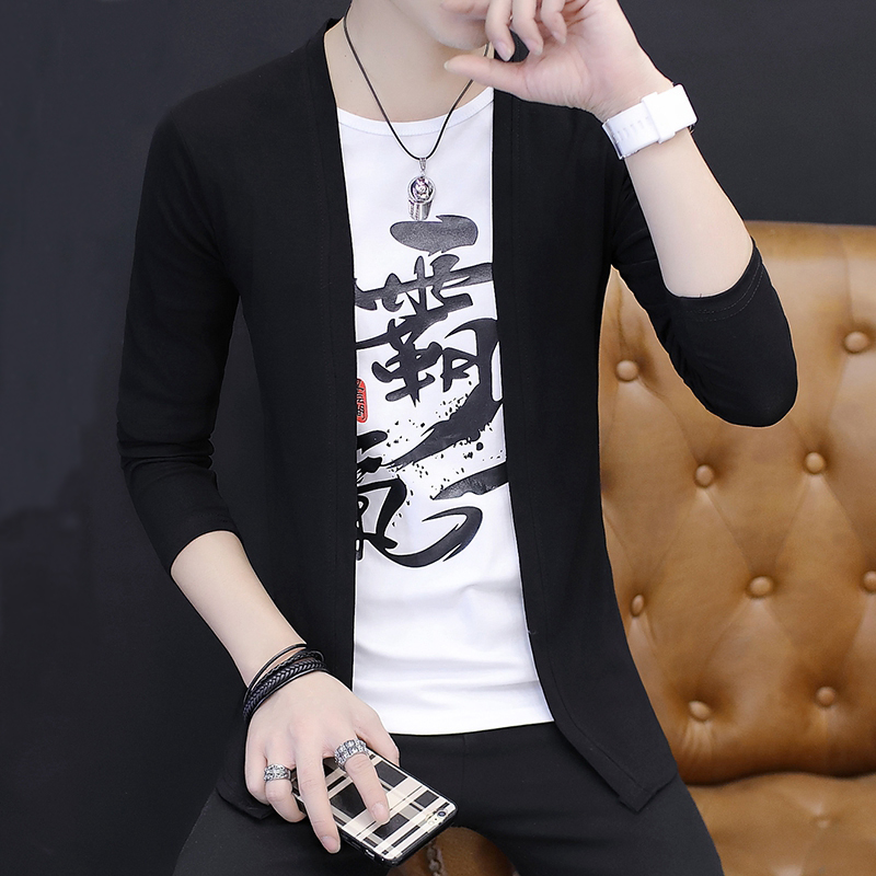 Youth t-shirt mens long sleeve fake two cardigan spring thin coat Korean slim personality handsome mens clothes