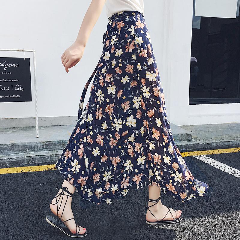 开叉包臀裙度假裙雪纺长裙