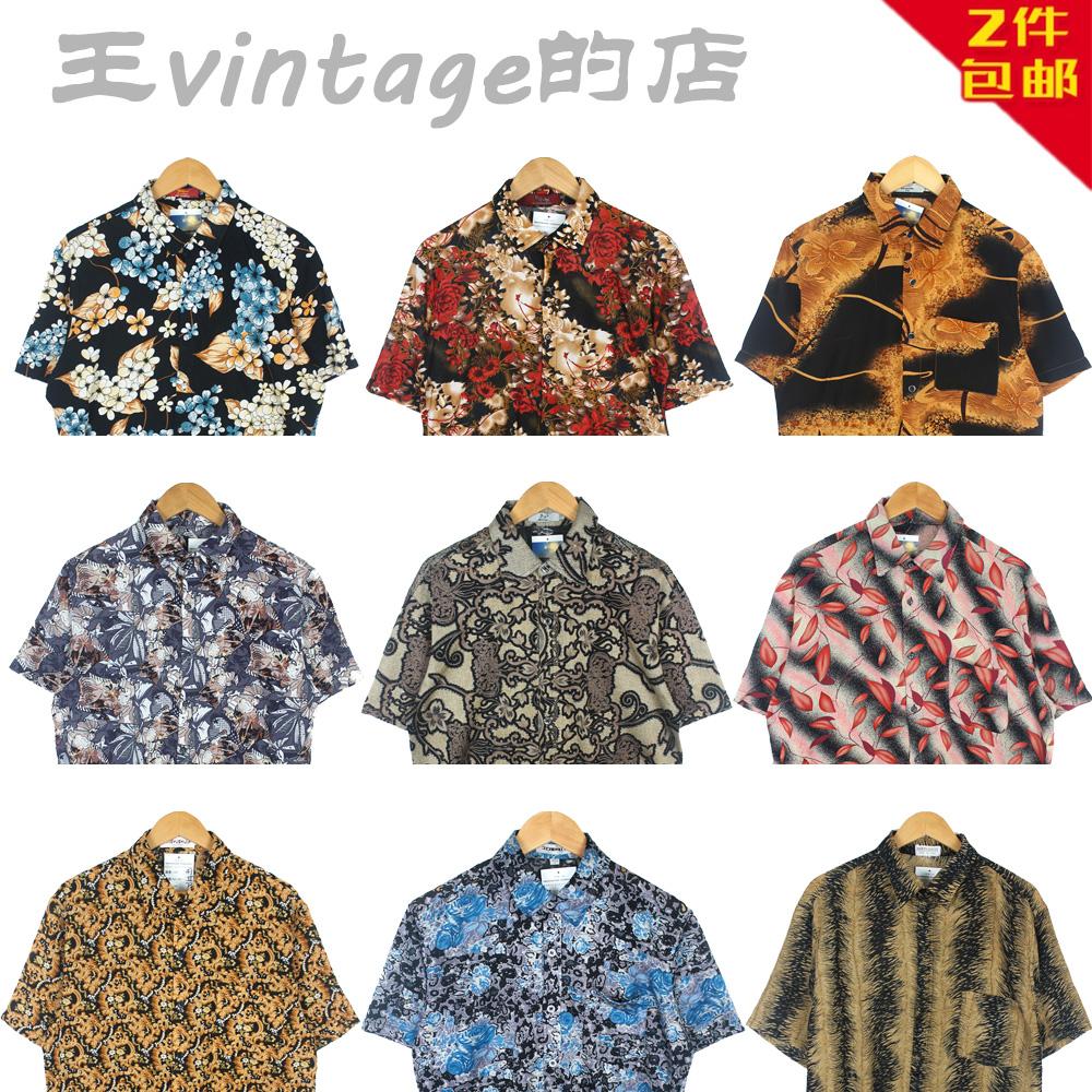 古着vintage巴洛克日本棉料布料金链油画男女图案花宽松短袖衬衫K