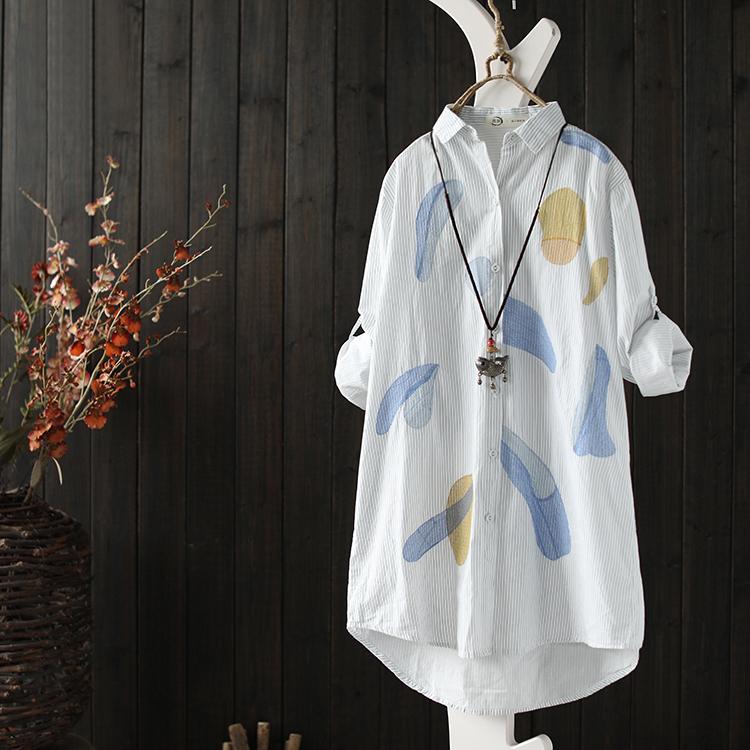 西缺原创文艺休闲刺绣棉条纹衬衫女装秋季新款中长款百搭衬衣开衫