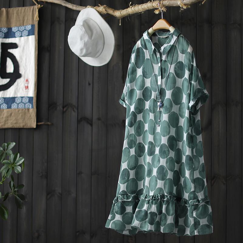 西缺蓝标气质波点人丝棉印花连衣裙女2020春季新款显瘦中长款裙子
