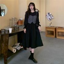 大码胖mm法式复古秋冬赫本风连衣裙女2021新款气质显瘦长袖两件套